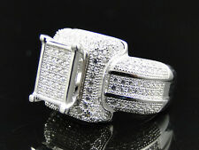 Ladies Sterling Silver Icy White Cluster Halo Lab Diamond Engagement Bridal Ring