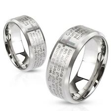Lord's Prayer Laser Etched Over Brushed Finished Stainless Steel Ring