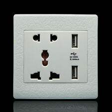 Dual USB Port Electric Wall Charger Station Socket Adapter Power Outlet Panel