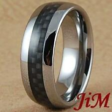 Mens Tungsten Ring Wedding Band Black Carbon Fiber Inlay Jewelry Size 6-15