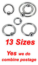 316L Surgical Steel Captive Bead Rings, One Side Fixed Ball Cartilage & Tragus