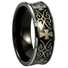 Black Tungsten Men's Concave Gold Cross Band Ring Size 8-13