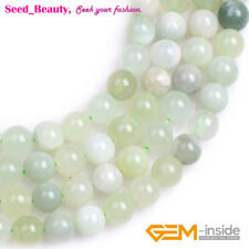 "Natural Round  Hua Show Jade Gemstone Loose Beads Strand 15"" Pale Light  Green"