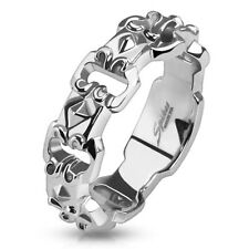 316L Stainless Steel Men's Decorative Buckle Chain Linked Band Ring Size 9-13