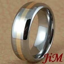 Mens Tungsten Carbide Ring 14K Gold Inlay Wedding Band Bridal Jewelry Size 6-15