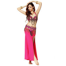 Professional Belly Dance Costume Outfit Set Bra Top +Belt Hip Scarf +Skirt Dress