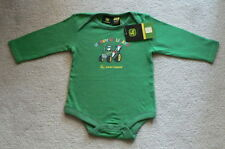 JOHN DEERE Happy Holidays Penguins in Tractor Green LS Onesie  Cotton  NWT