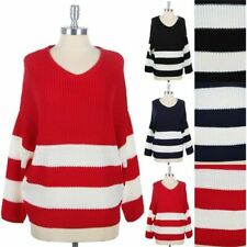 Women's Striped Knit V Neck Winter Thick Warm Sweater Long Sleeve S M L