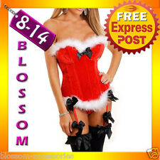 F35 Santa Claus Christmas Corset Bustier Fancy Dress Costume Xmas Party Outfit