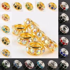 Crystal Rhinestone Silver/Golden Large Hole Spacer Beads Fit EP Charms Bracelet