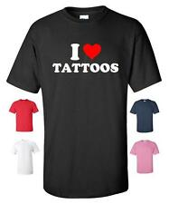 I LOVE HEART TATTOOS FUNNY T-SHIRT MENS WOMENS CHILDRENS SIZES CHRISTMAS