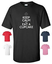 KEEP CALM AND EAT A CUPCAKE FUNNY T-SHIRT MENS WOMENS CHILDRENS SIZES