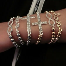 1pc Women Stylish Crystal Rhinestone Love Cross Infinity Elastic Beaded Bracelet