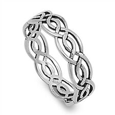 NEW CELTIC BRAIDED ETERNITY BAND .925 Sterling Silver Ring Sizes 5-10