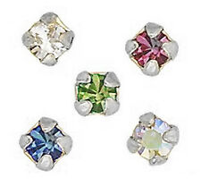 STERLING SILVER NOSE WIRES STUDS 3 or 4 CLAW SET VARIOUS COLOURS