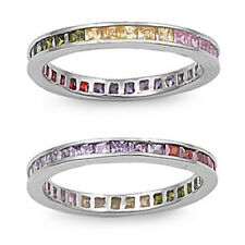 MultiColor Gemstones Eternity Wedding Anniversary Band .925 Sterling Silver