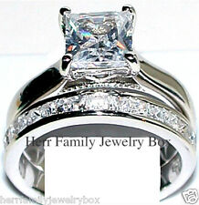 2pc Princess cut CZ Engagement Ring Wedding Band Set STERLING SILVER 5 6 7 8 9
