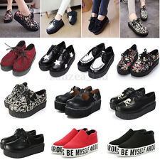 Women's Lace Up Creeper Shoes Platform Suede Flats Ladies Punk Boots Sneakers