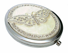 Personalised Ivory and Crystal Butterfly Compact Mirror in Gift Box, Engraved