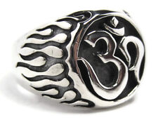 Large Men's Sterling Silver Om Ohm Aum Am Ring NEW Buddhist Symbol Sign Chunky