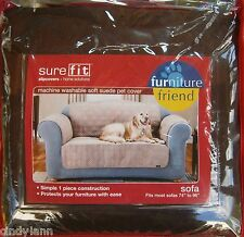 SURE FIT BROWN SOFT SUEDE PET DOG SLIP COVER SOFA PROTECTOR