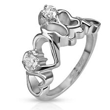 Stainless Steel Pretty Butterfly and Hearts CZ Ring Size 5-8