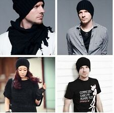 WINTER Unisex KNIT CROCHET SKI BEANIE KNITTING WOOL SOLID HATS CAPS JTV5
