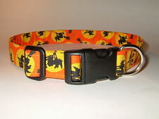 HALLOWEEN WITCHES ON ORANGE DOG COLLAR (YOU PICK THE SIZE)