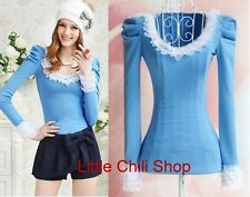 Japan fashion punk Rock gothic Lolita Lace Collar top Blouse Shirt Blue S~XL