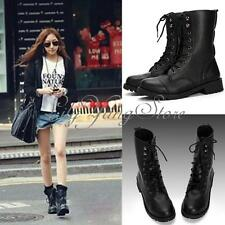 Cool Women Black Military Army PUNK Knight Lace-up Martin Short Boots Shoes NEW