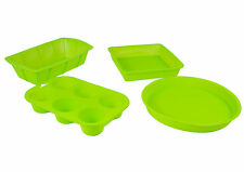 """""""Brights"""" 4 Piece Baking Moulds Set in Green Silicone for Cakes, Muffins & Bread"""
