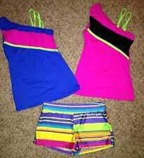 New Motionwear Dance jazz Hot Pink Green Top Stripe booty Shorts adult S M L XL