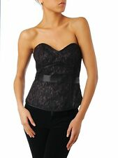 Untold House of Fraser RRP £80 Purple & Black Bonded Lace Bustier Top Free Ship