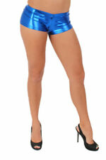 WOMEN'S JUNIORS SEXY ROYAL METALLIC SHORT PANTS HIPSTER DANCE CLUB BOOTY SHORTS