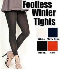 Ladies Thick Super Soft #2038L Winter FOOTLESS Tights Regular Solids One Size