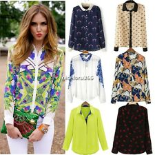 Red Lip Paisley Women's Lapel Collar Chiffon Long Sleeve Shirt Tops Blouses New