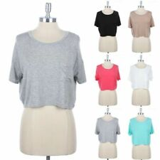 Short Sleeve Solid Cropped Top With Front Chest Pocket Casual S M L