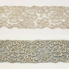 Floral Metallic Embroidered Venise venice Lace Trim #277- Bridal Wedding Dress