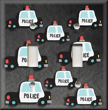 Light Switch Plate Cover - Police Car Pattern - Boys Room - Home Decor