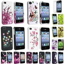 Color Rubberized Hard Clip-on Case+Anti Glare Protector For iPhone 4 4S