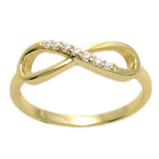14K Gold over Sterling Silver 0.07 Carat Infinity Symbol Ring Size 6-8