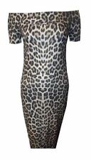 NEW WOMENS BROWN LEOPARD ANIMAL PRINT OFF THE SHOULDER MIDI DRESS SIZE 8-18