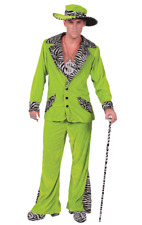 Mens Retro 70s Green Pimp Gangster Daddy Suit Stag Fancy Dress Outfit Costume