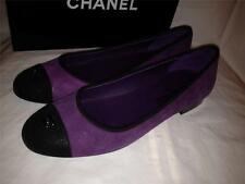 CHANEL Two Tone Suede Cap Toe Ballerina Ballet Flat Shoes Violet Purple Blk $695