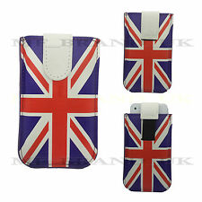 Union Jack Flag Pull Out Pouch Synthetic Leather Case Cover + Free Screen Guard