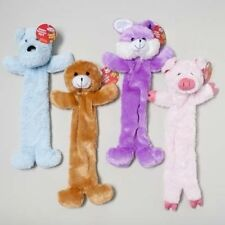 """LONG PLUSH Stuffing Free 18"""" DOG~BEAR~BUNNY~PIG FOUR SQUEAKERS Dog Puppy Toy"""