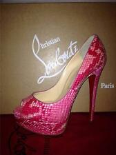 Christian Louboutin LADY PEEP 150 Python Platform Heels Pumps Shoes Rose $1795