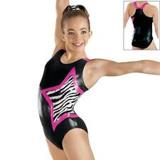 NEW Wild Zebra Star Black Pink Foil Racer Dance Gymnastics Leotard Child