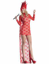 Ladies Lady Gaga Red Lace VMA Pop Star Celebrity Fancy Dress Costume