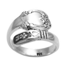 925 Sterling Silver Floral Design Spoon Ring Size 5-9